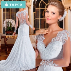 TOPCO New elegant small trailing new bride chiffon wedding gown fashion temperament wedding dress s white