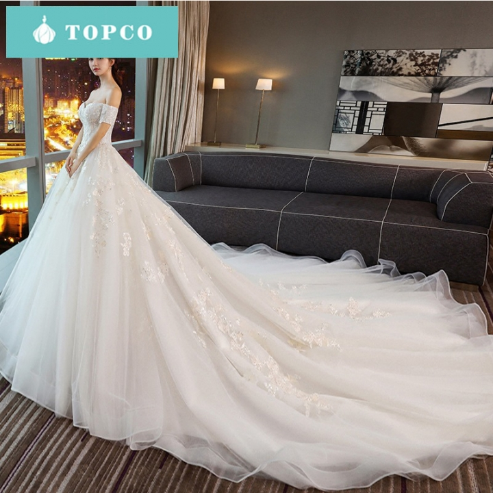 One Shoulder Long Tail Wedding Dress Bride New Spring Lace Court S White