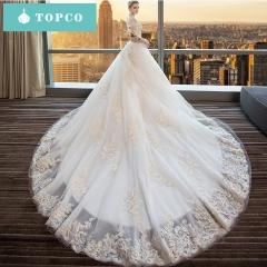 One-shoulder wedding dress bride tail tail 2018 new Qi-European court long tail l white