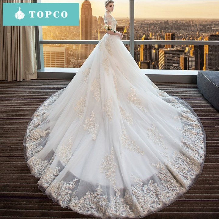 Kilimall: One-shoulder wedding dress bride tail tail 2018 new Qi ...