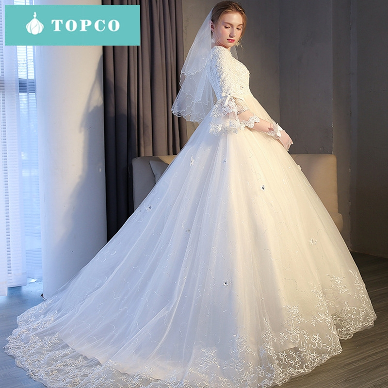 b8a3ddf65a9e5 New winter Korean style high waist fat mm thin long trailing wedding dress  princess dream s white, mop
