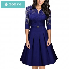 2018 summer party lace dress A beautiful sexy evening dress xxl blue