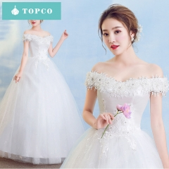 TOPCO Bride Wedding Dress Nice looking Fantasy sexy lace flower off shoulder Large size wedding gown s white
