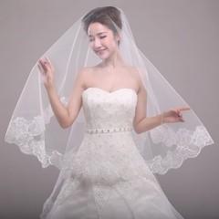 Bride's new wedding single layer lace lace veil 1.5 m female veil unisize unisize