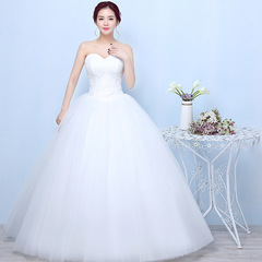 Wedding dress 2018 new bride tube top slim slimming female 2xl white