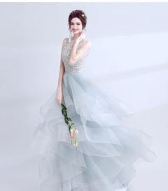 High-end V-neck beaded gray long dinner show host wedding dress l blue
