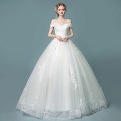 Off-shoulder wedding dress 2018 new bride wedding princess dream slim slimming evening dress s white
