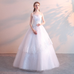 Wedding dress 2018 new bride tube top wedding princess dream slimming wedding dress 2xl white