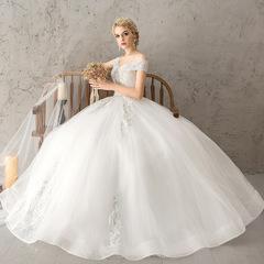 A Shoulder Wedding Dress 2018 Bride Korean Version European and American Court Slender s white
