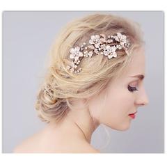 European and American flower comb bride's headdress Sennu leaf alloy hair comb Golden uniform code