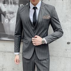 The groom wedding suit male stripe three-piece suit men's suits men leisure suit small suit dark grey  three-piece suit 170/m