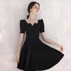TOPCOThe new 2019 red dress hubble-bubble sleeve delicate little long in the neckline dinner dresses xs black