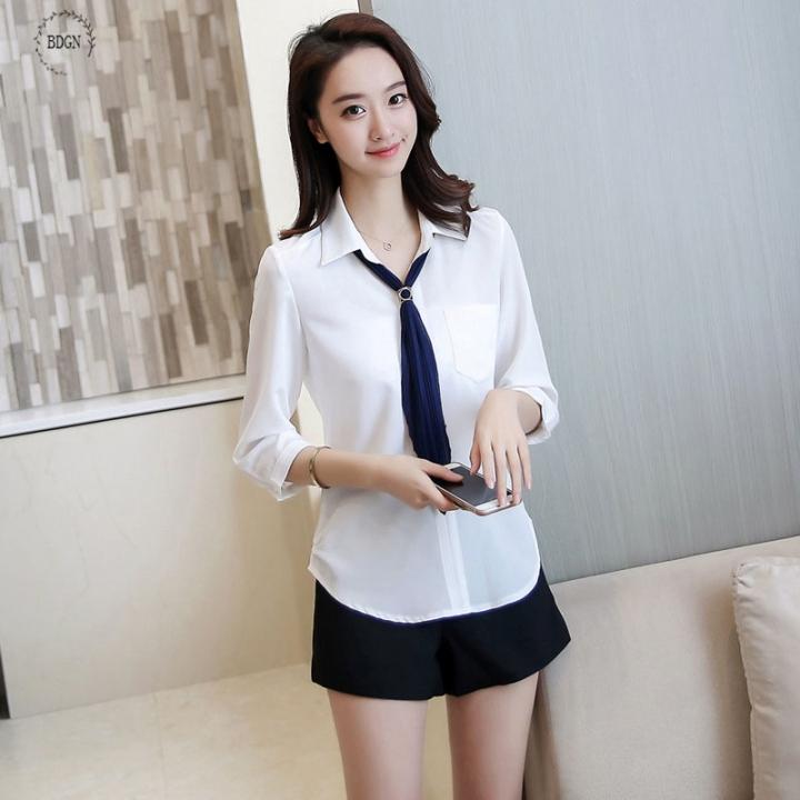 c9733cf5661 2018 summer new style chiffon sweater female fashion professional wear thin  section white XL