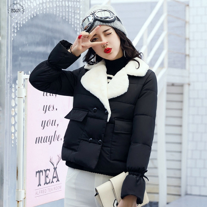 0ea3ad8f901 2017 short winter, thin and thin bread, slim cotton jacket, new down feather