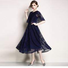 2018 New Women's Elegant Elegant Round Neck Lace Dress Dress Wild Lady dark blue m