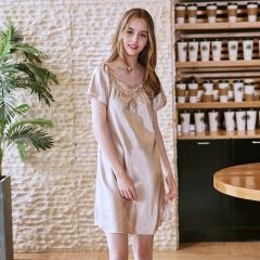 simulation silk pajamas Summer silk sexy short-sleeved nightdress female summer Camel M