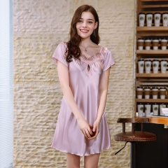 simulation silk pajamas Summer silk sexy short-sleeved nightdress female summer Pinkish purple L