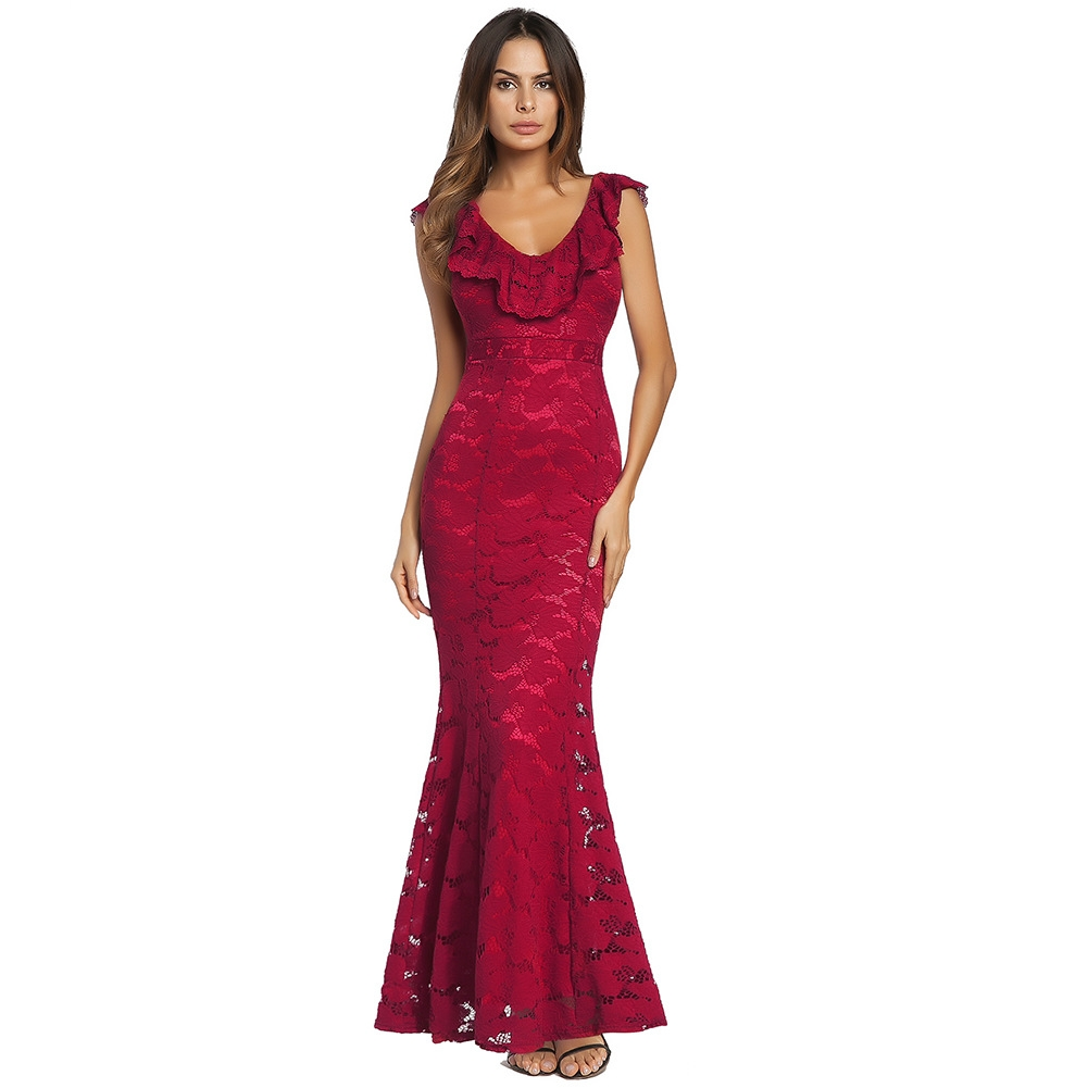 4183989d5f New red sexy V-neck lace flared pants dress women evening dress s ...