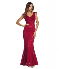 New red sexy V-neck lace flared pants dress women evening dress s red