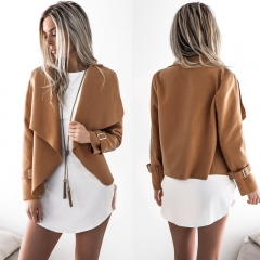 autumn and winter new lapel wool coat jacket women khaki m