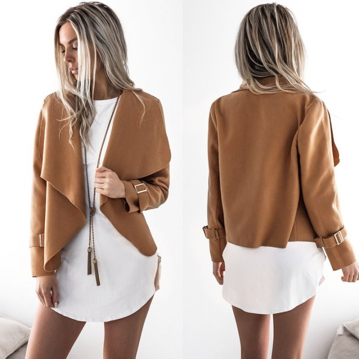 autumn and winter new lapel wool coat jacket women khaki s