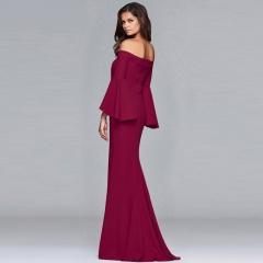Autumn and winter women's new high-end evening dress sexy waist dress female dress s blue