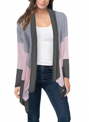 New women's spring and autumn tri-color stitching long-sleeved cardigan jacket black s