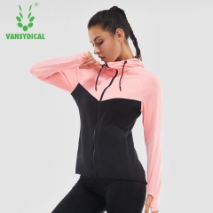 Autumn and winter female fitness coat sports training suit long-sleeved running top gym zipper yoga Black fight powder s