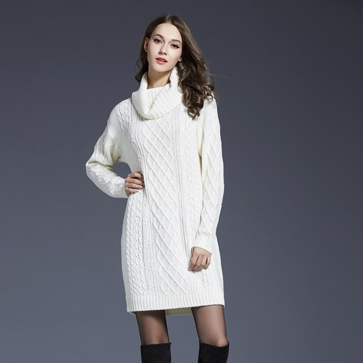 models States large size women's knitted dress long sweater female armygreen m