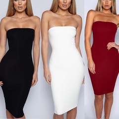 Women's solid color sexy hip dress hot sale s white