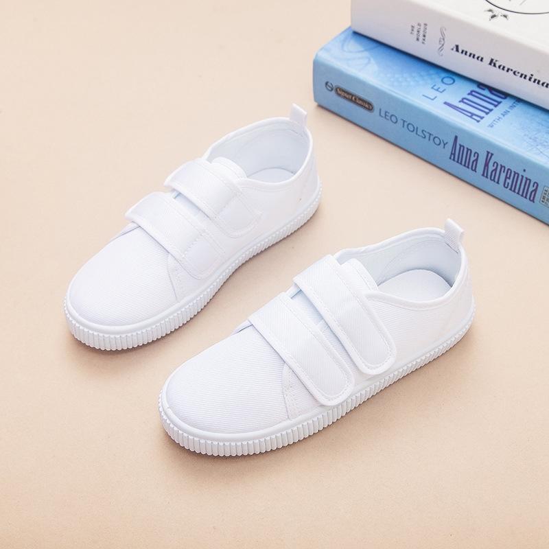 2c03fb6852f Children s white canvas sports kindergarten children s white shoes ...