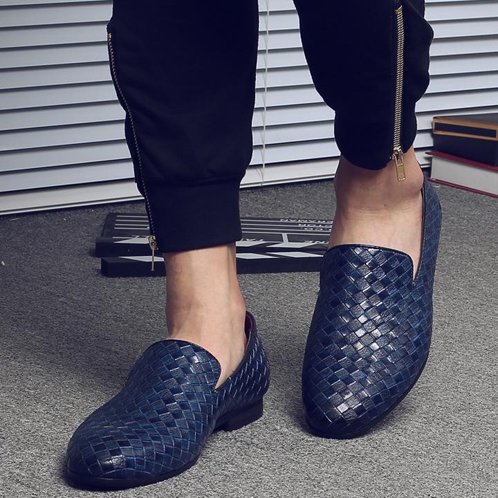 Men's shoes moccasins weave men's shoes autumn single shoes youth fashion shoes blue 41