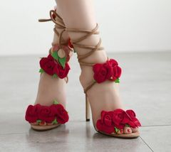 Three-dimensional rose cross lacing high heel sandals around feet sexy women's shoes red 35