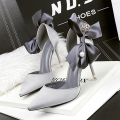 Korean style pointed satin high heels bow tie sexy pearl sandals thin and light mouth wedding shoes gray 39