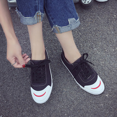 Breathable canvas shoes female students Korean version of the retro chic shoes Harajuku style black 35
