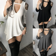 New round-collar deep V-shoulder hem with irregular short sleeves white xl