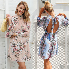 2019 new ladies horn sleeve printed chiffon sexy backless dress Apricot l
