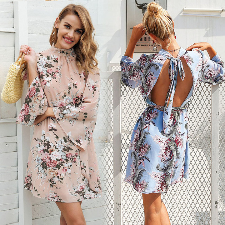 2019 new ladies horn sleeve printed chiffon sexy backless dress Apricot xl