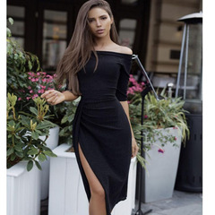 Women's wear hip dress waist open collar evening dress dress dress m black