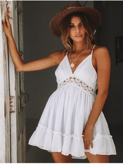 Sexy open-back suspender waist lace dress new summer flamboyant dress of 2019 s white