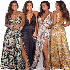 Summer women's wear European and American V-neck leaky back cross-printed Beach Dress s white