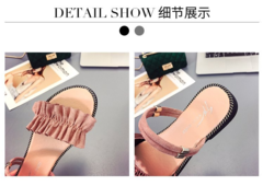Summer sandals women casual fungus lace flat-soled sandals wearing fashionable women's shoes black 38