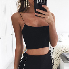 2019 Hot Summer Women's Wear New Pure Color Cuisine Knitted Garter Vest black s