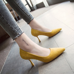 New style single shoe pink pointed, shallow, fine-heeled, suede high-heeled shoes yellow 34