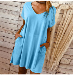 Short-sleeved large-size solid-color dress s blue