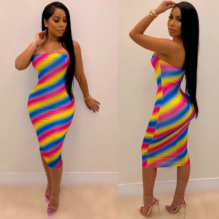 Women's fashion explosive color striped dress with bosom wrapped and body-building s picture color