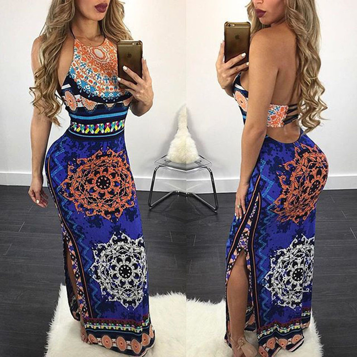 Individual fashion dress side open waist hollow printing bag buttock Long Tie skirt s blue