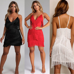 New sexy fringed patchwork back dress skirt deep V-neck dress s white