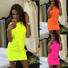 Fashion hot-selling blockbuster pure-color fringed dress s yellow