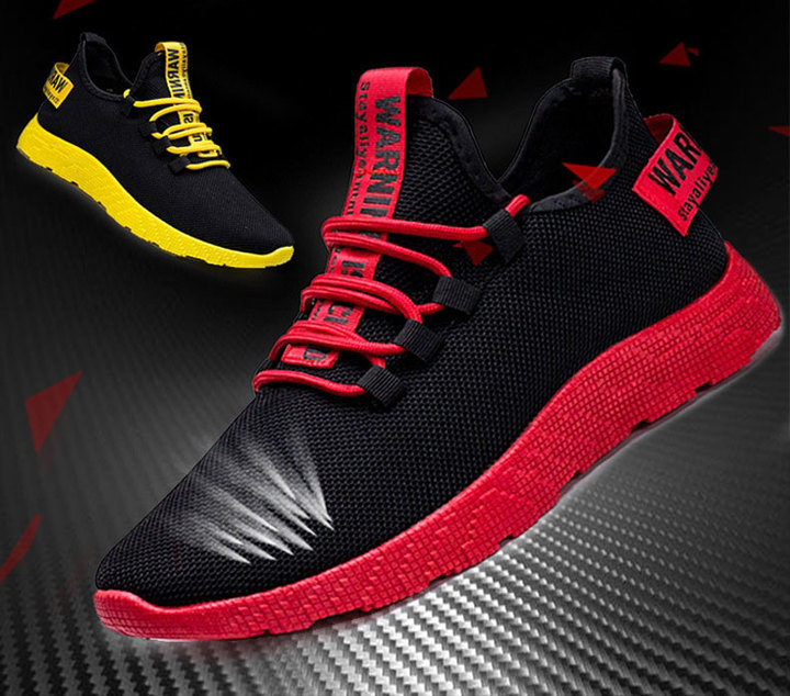 2019 Men's Running Shoes with Super-hot Fashion Air-permeable Plate Shoes red 39
